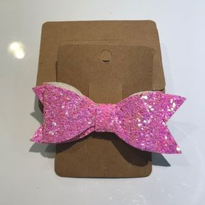 Other - Pink Glitter bow with alligator clip